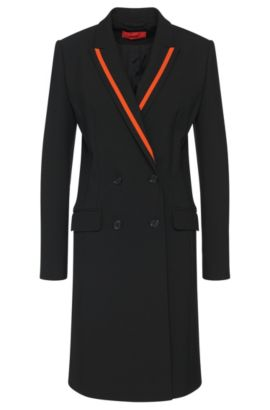 Coat with contrasting-colour panels: 'Madelana', Black