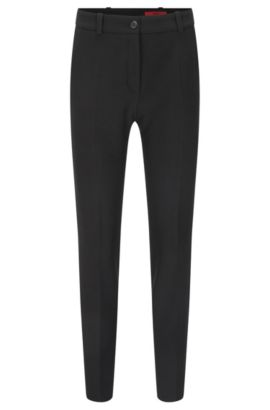 Slim-fit trousers in double-faced fabric, Black