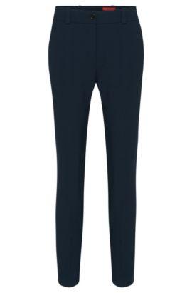 Pantalones slim fit en tejido de doble cara, Azul oscuro