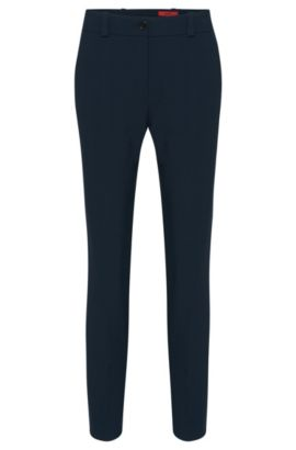 Pantaloni slim fit in tessuto double-face, Blue Scuro