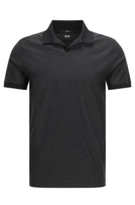 Finely patterned regular-fit polo shirt in cotton: 'Philippson 10', Black