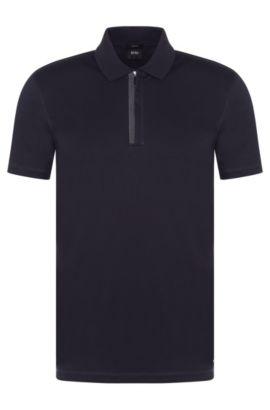 Slim-Fit Poloshirt aus Baumwolle mit Reißverschluss: 'Plater 03', Dunkelblau