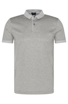 Polo Slim Fit en coton au design bicolore : « Penrose 11 », Gris chiné