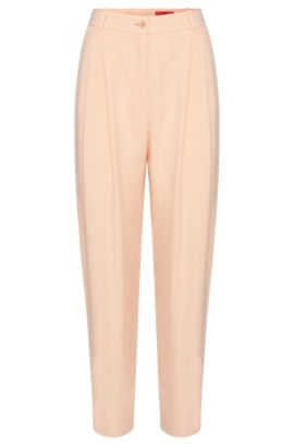High-rise fitted trousers with fixed pleats: 'Haruka', Open Pink