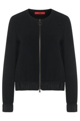 Biker jacket-style jacket in fabric blend with viscose: 'Aitana', Black