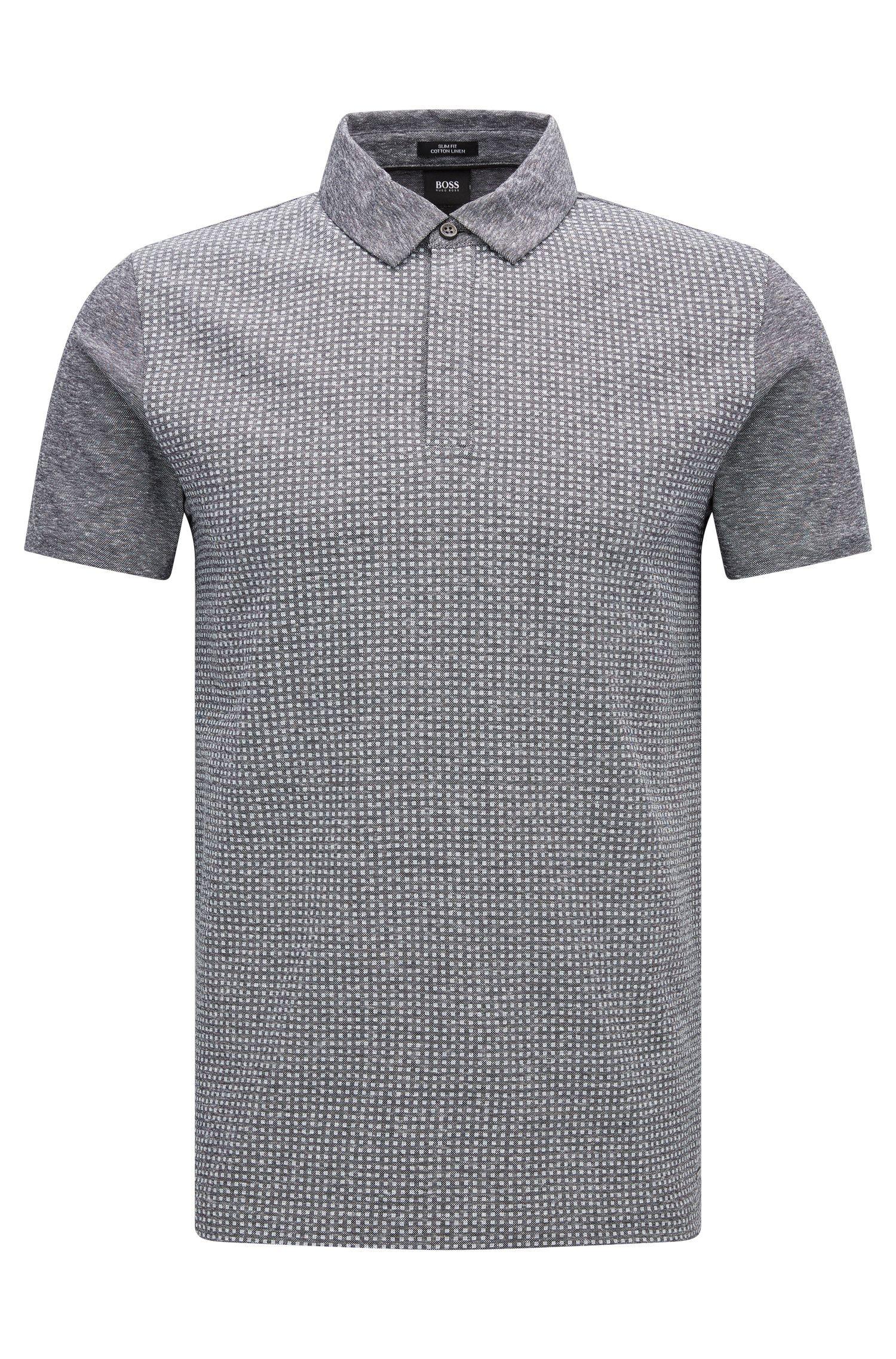 Slim-Fit Poloshirt aus Baumwoll-Mix mti Leinen: 'Platt 09'