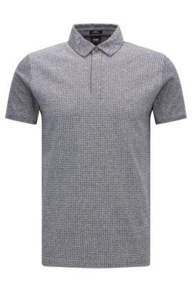 Polo Slim Fit en coton mélangé, avec du lin: «Platt 09», Bleu foncé