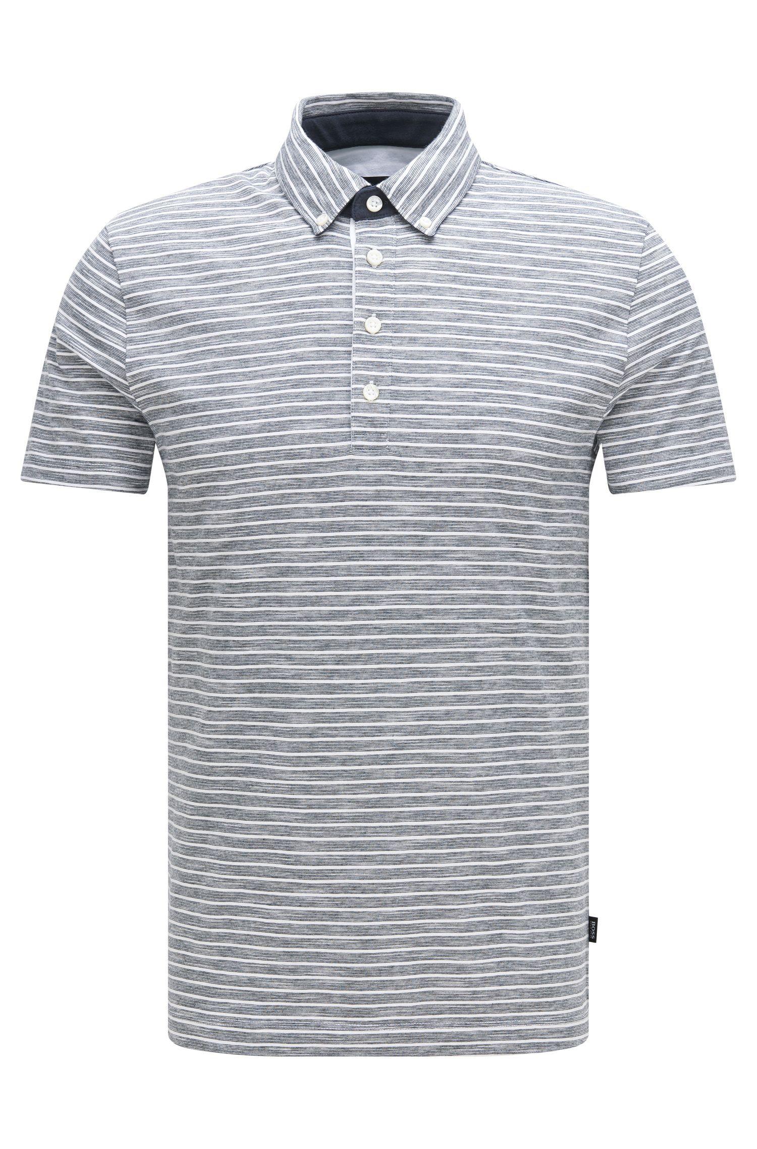 Polo slim fit in misto cotone con motivo a righe: 'Platt 08'