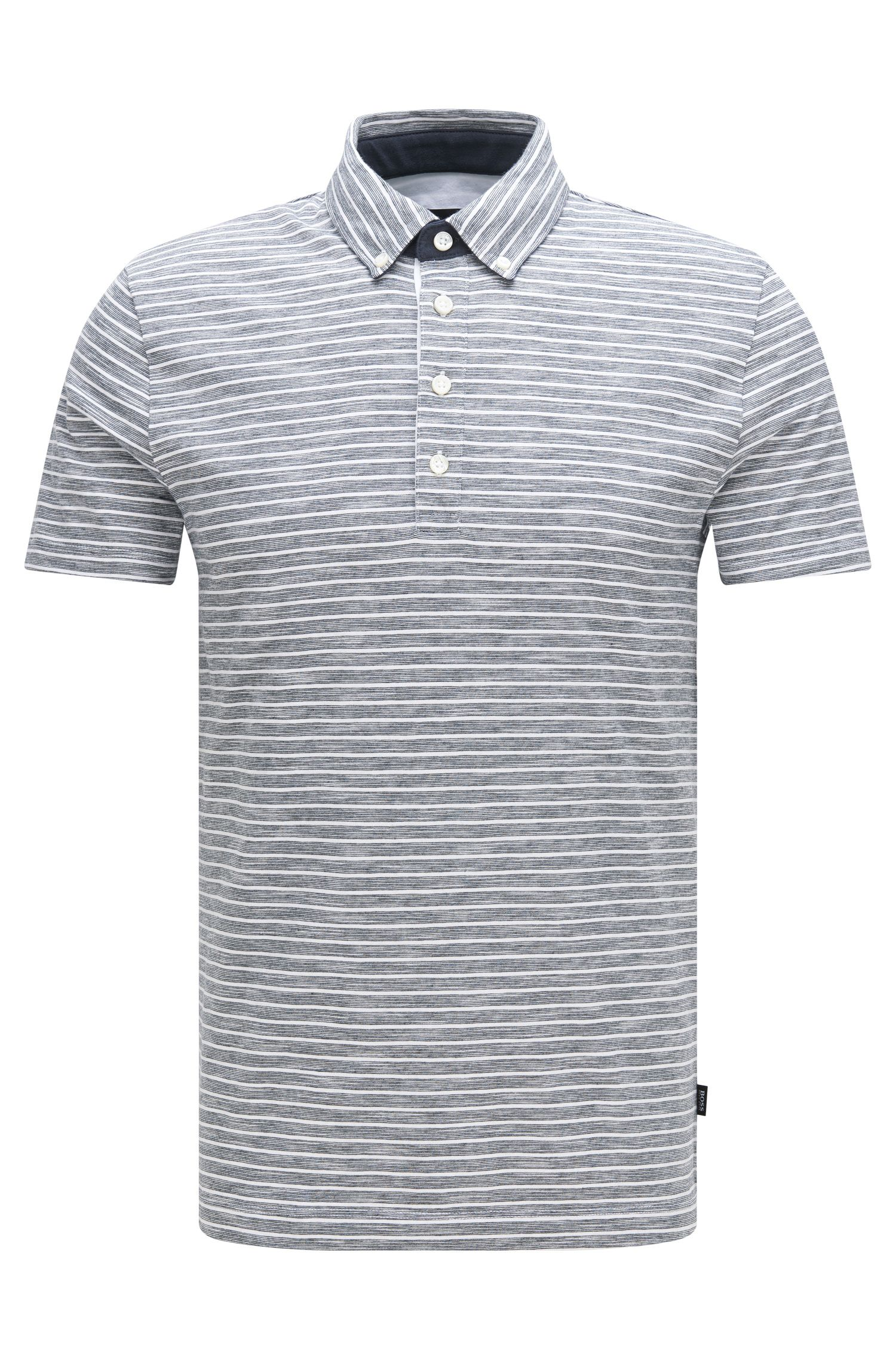 Gestreiftes Slim-Fit Poloshirt aus Baumwoll-Mix: 'Platt 08'