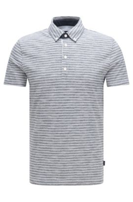 Polo Slim Fit à rayures, en coton mélangé: «Platt 08», Bleu foncé