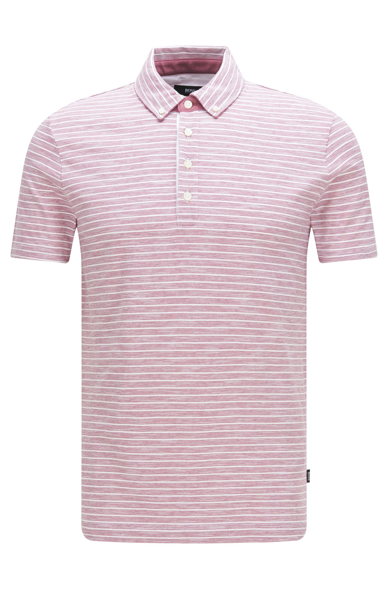 Striped slim-fit polo shirt in cotton blend: 'Platt 08'