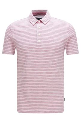 Striped slim-fit polo shirt in cotton blend: 'Platt 08', Pink