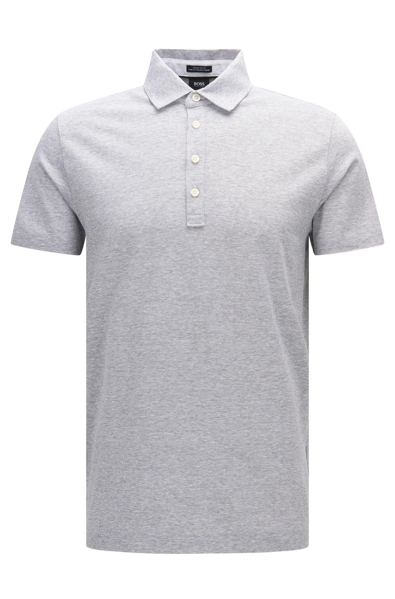 Meliertes Regular-Fit Poloshirt aus Baumwolle und Leinen: 'Press 16'
