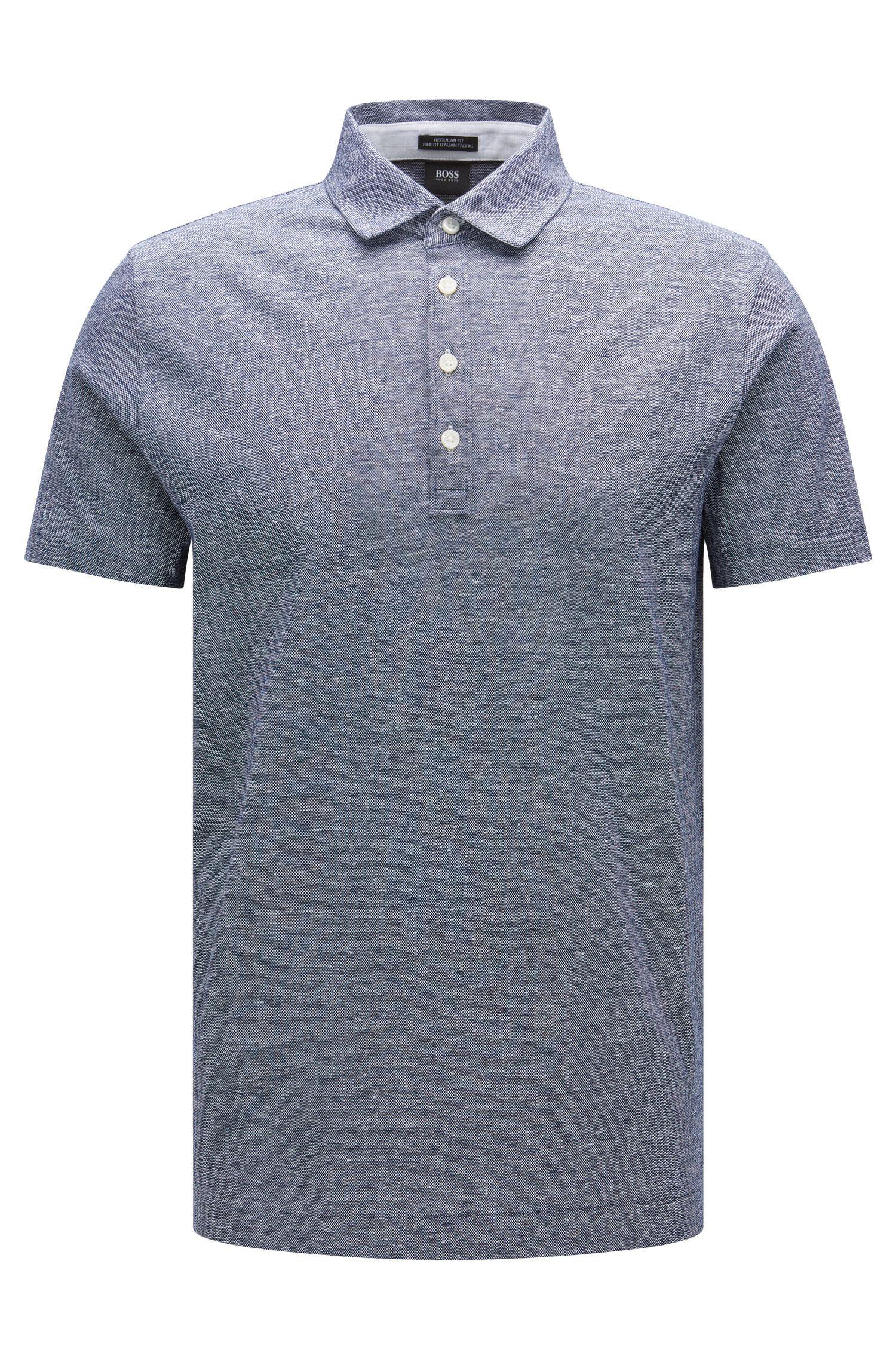 Polo jaspeado regular fit en algodón y lino: 'Press 16'