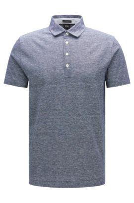 Polo jaspeado regular fit en algodón y lino: 'Press 16', Azul oscuro