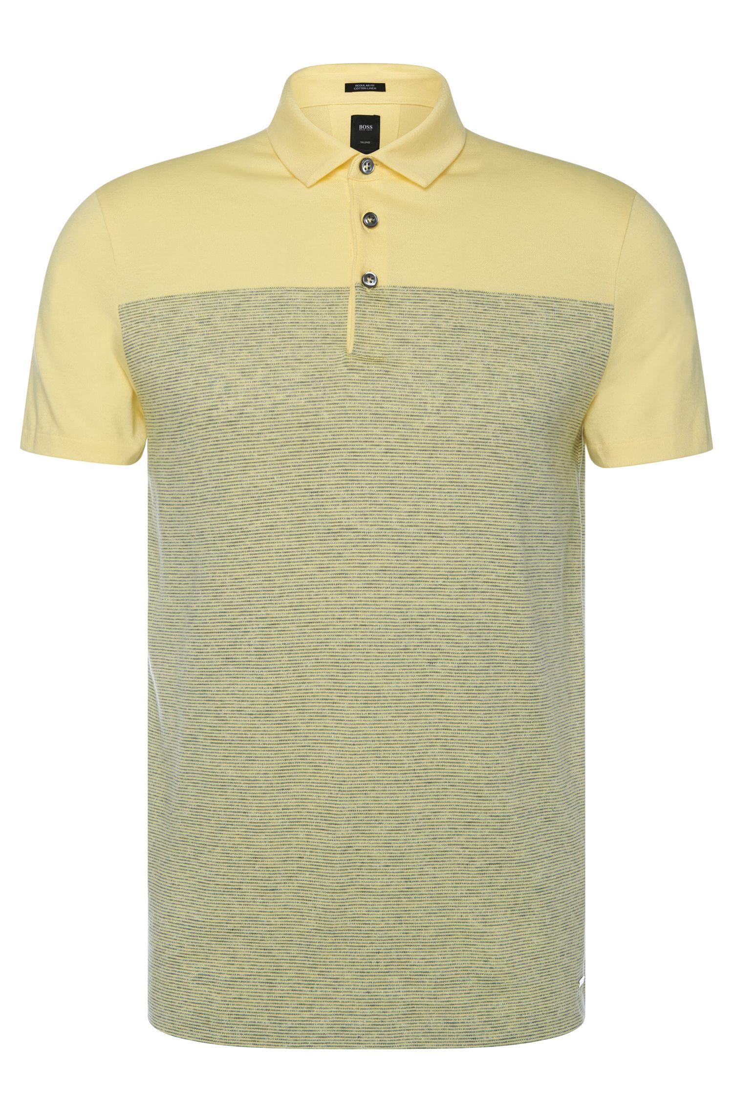 Polo rayé Regular Fit Tailored en coton mélangé à du lin: «T-Pryde 28»