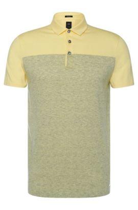 Polo rayé Regular Fit Tailored en coton mélangé à du lin: «T-Pryde 28», Jaune clair