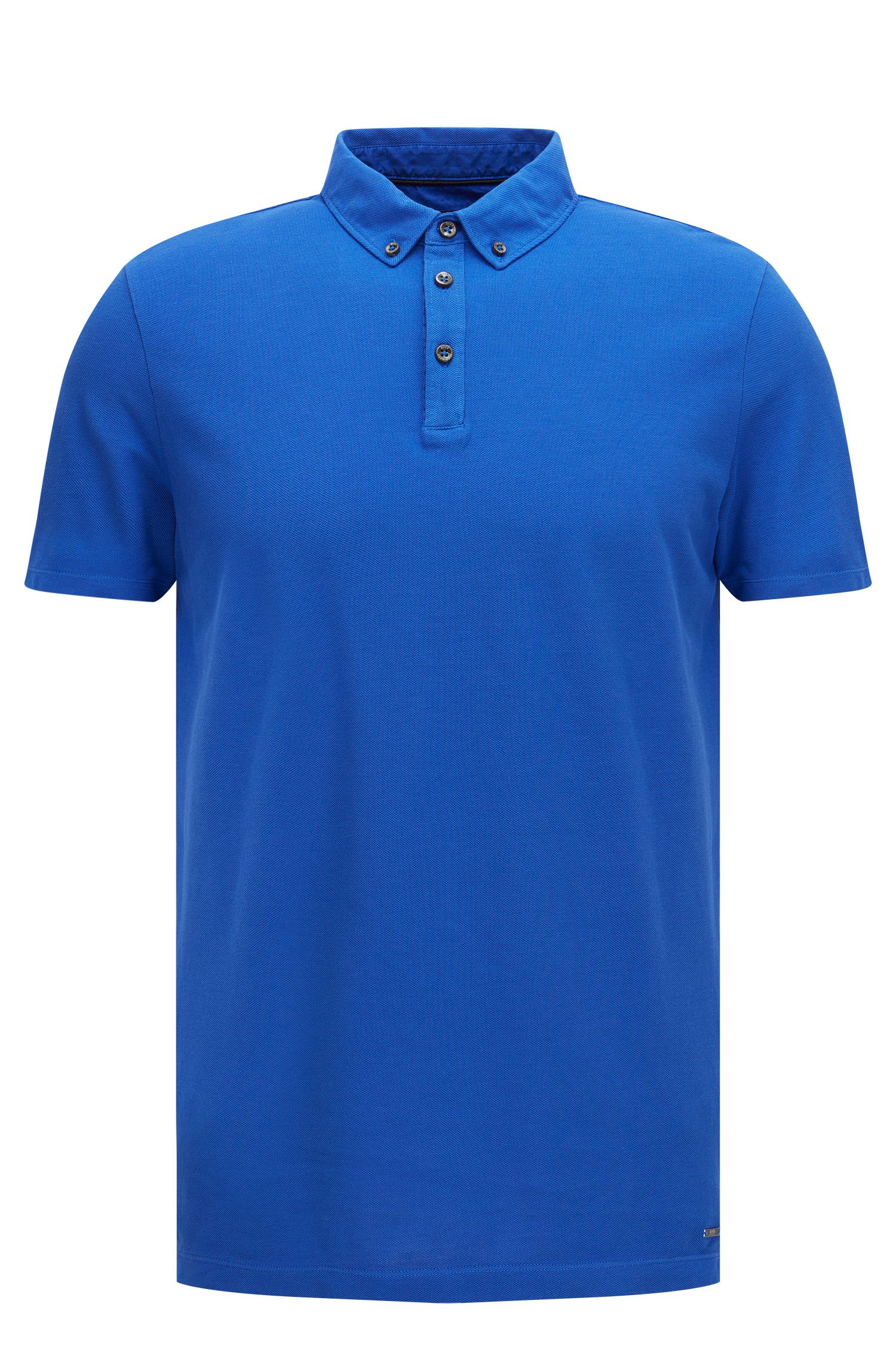 Regular-Fit Poloshirt aus Baumwolle mit Button-Down-Kragen: 'Press 18'