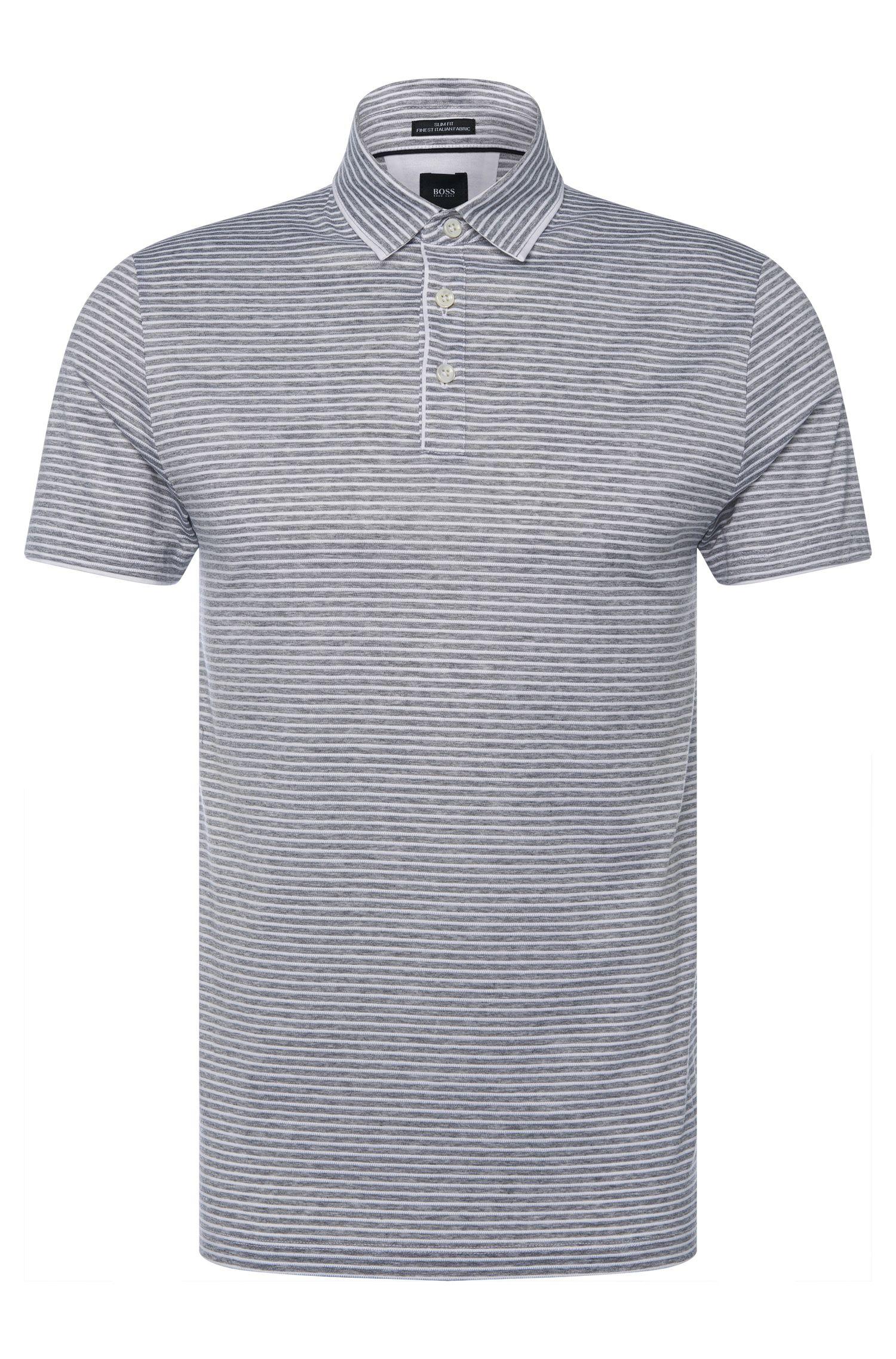 Polo Slim Fit Tailored à rayures en coton: «T-Pryde 27»