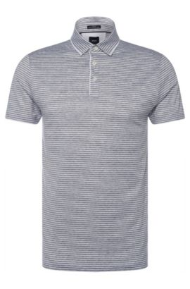 Polo Slim Fit Tailored à rayures en coton: «T-Pryde 27», Gris chiné