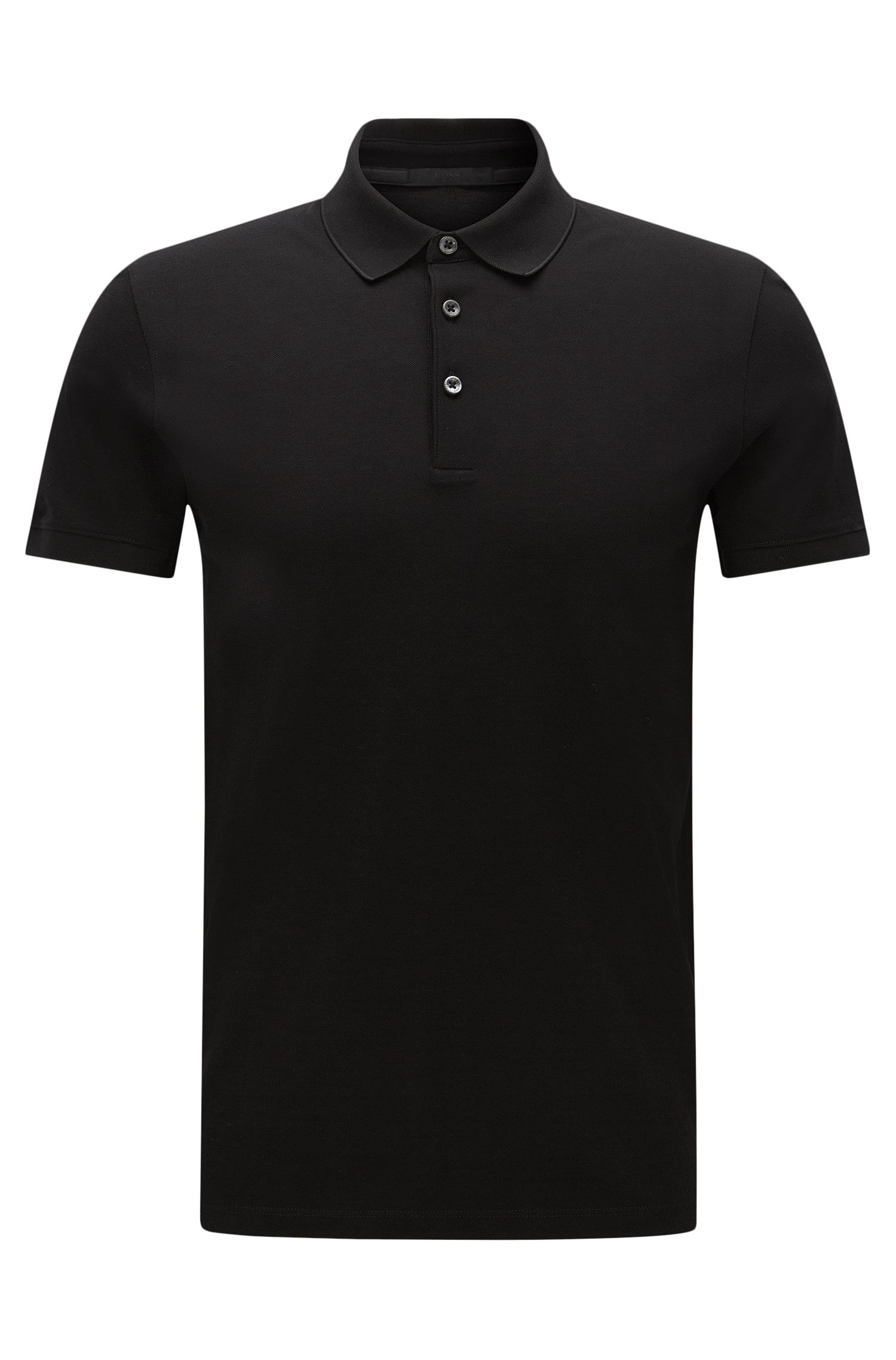 Slim-fit cotton polo shirt: 'Penrose 09-WS', Black