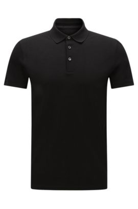 Polo slim fit in cotone: 'Penrose 09-WS', Nero