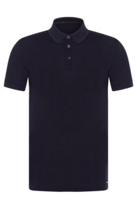Slim-Fit Poloshirt aus Baumwolle: 'Penrose 09-WS', Dunkelblau