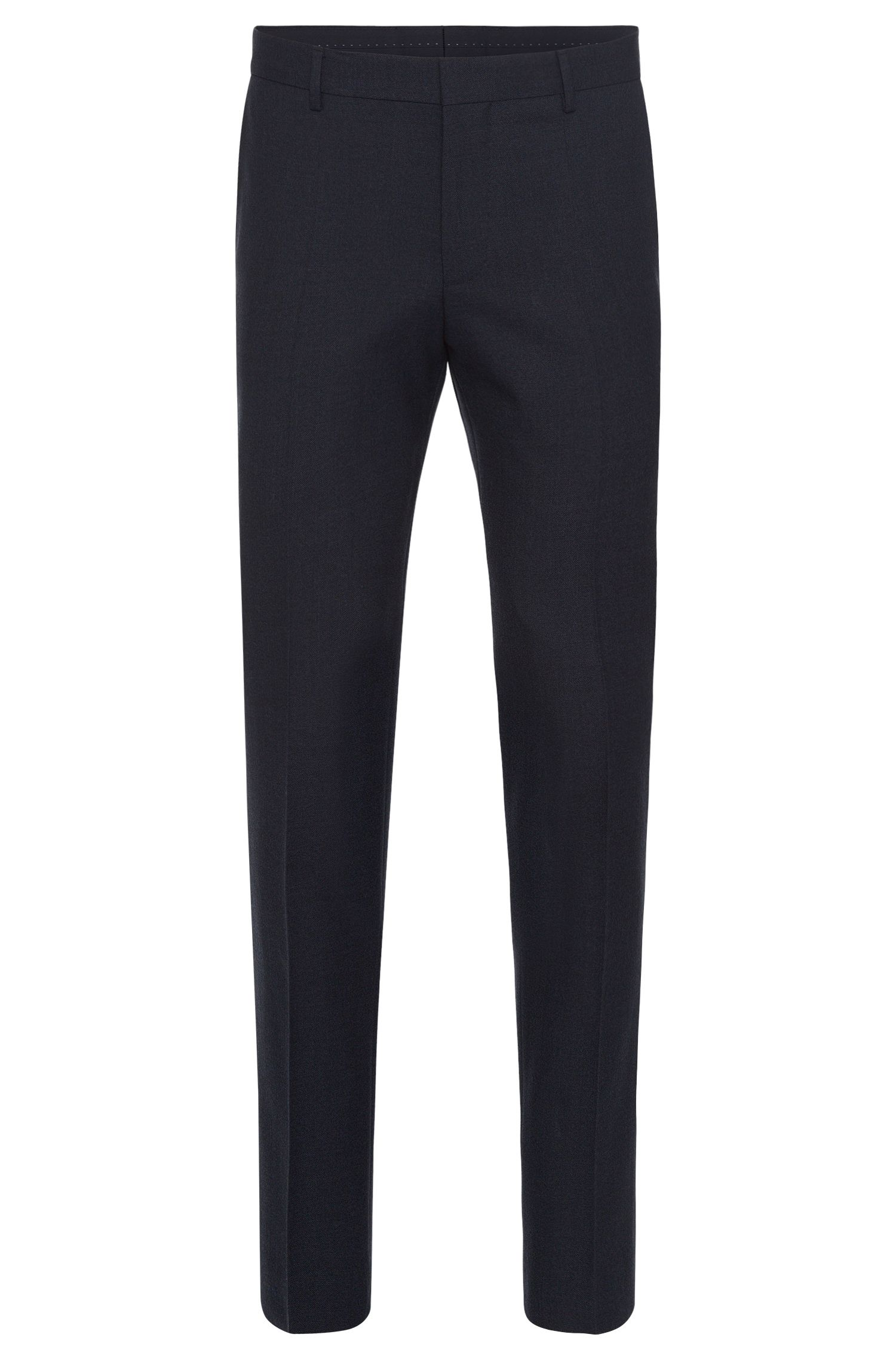 Slim-fit trousers in new-wool blend with cotton and leather effect piping: 'Barao'
