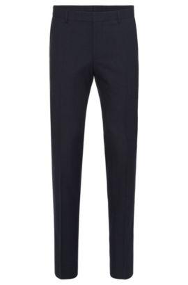 Pantalón slim fit en mezcla de lana virgen con algodón y ribetes de imitación piel: 'Barao', Azul oscuro