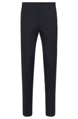 Slim-fit trousers in new-wool blend with cotton and leather effect piping: 'Barao', Dark Blue