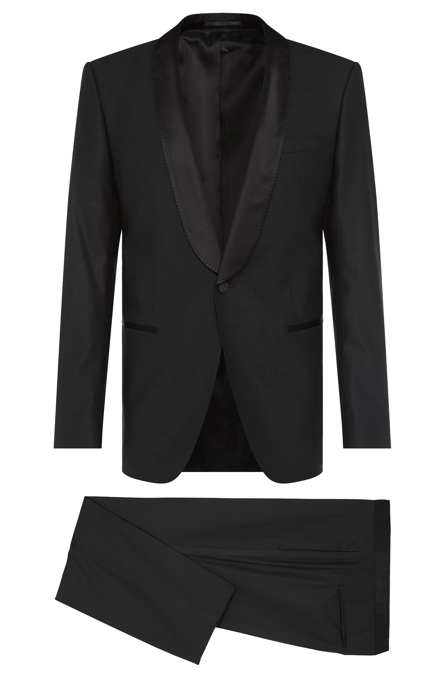 Slim-fit dinner suit in stretchy new-wool blend with silk detailing: 'Hanfrey/Greys'