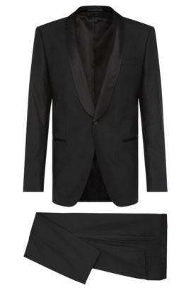 Slim-fit dinner suit in stretchy new-wool blend with silk detailing: 'Hanfrey/Greys', Black