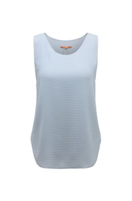 Textured regular-fit top in mixed materials: 'Kethny', Light Blue