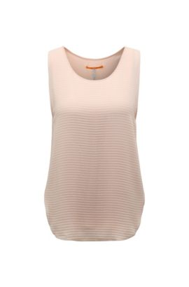 Textured regular-fit top in mixed materials: 'Kethny', light pink