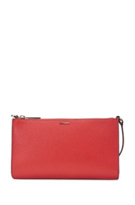 Plain mini bag in textured leather: 'Staple Mini Bag-A', Red