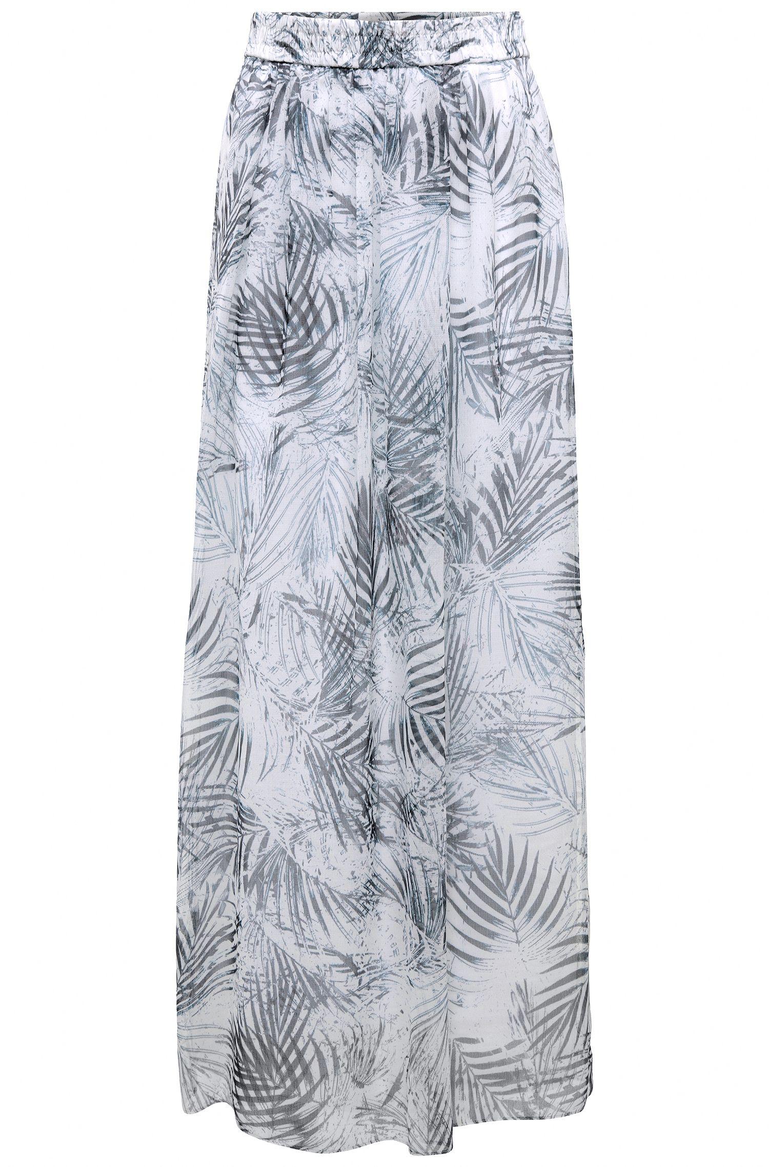 Falda larga en mezcla de materiales con estampado de hojas: 'Beflowny1'