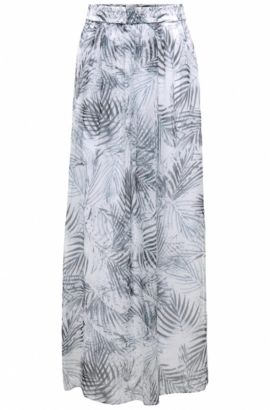 Floor-length skirt in mixed materials with leaf print: 'Beflowny1', Patterned