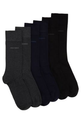 Plain socks in stretch cotton blend in a triple pack: 'S 3P CO BOX', Patterned