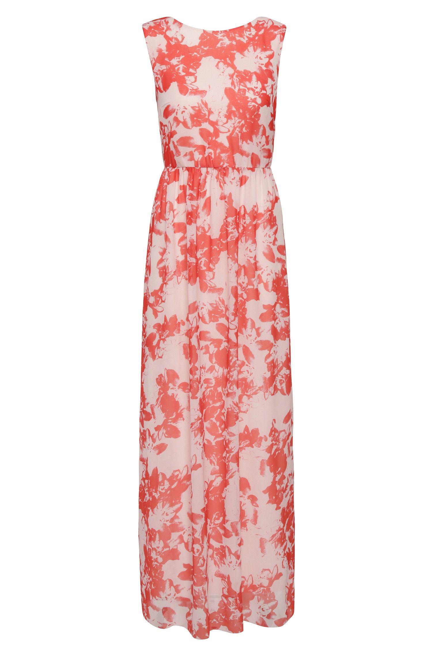 Maxi-jurk van een materiaalmix met bloesemdessin: 'Afiorella'
