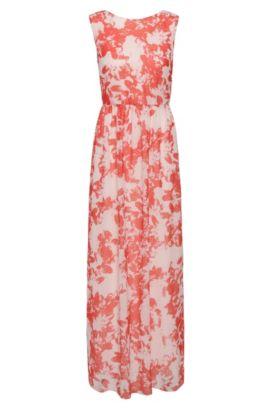 Maxi-jurk van een materiaalmix met bloesemdessin: 'Afiorella', Bedrukt