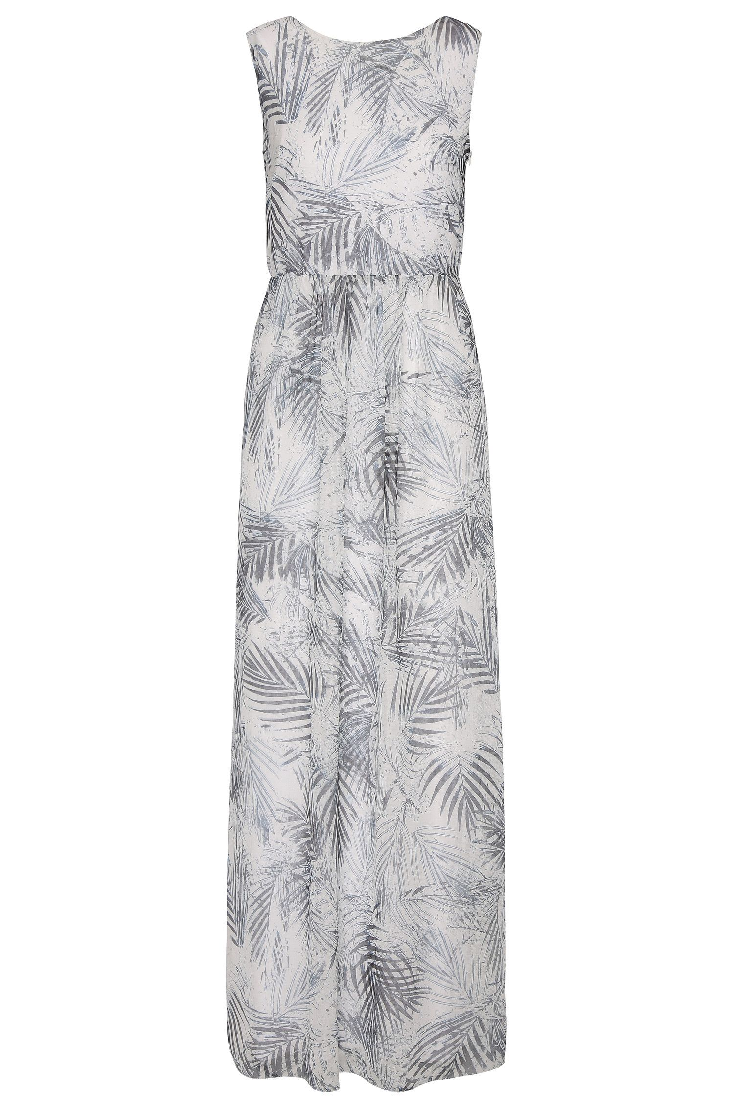 Robe longue à motif fleurs en mélange de matières: «Afiorella»