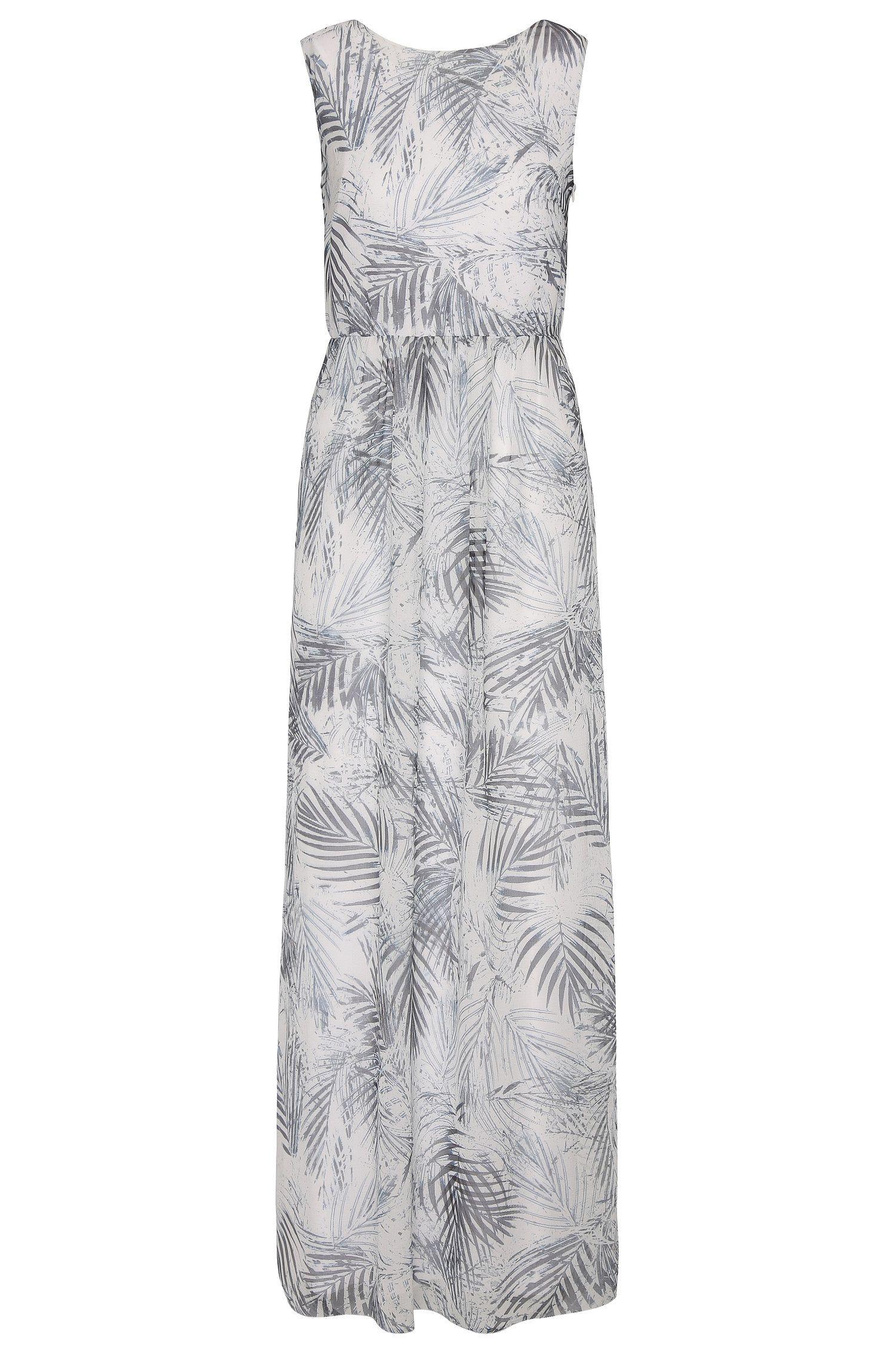 Maxi-abito con motivo floreale in materiali misti: 'Afiorella'
