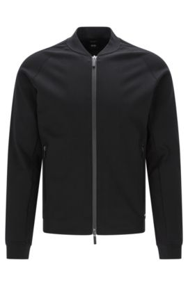 Regular fit Travel Line sweatshirt jacket in cotton blend: 'Skiles 03', Black