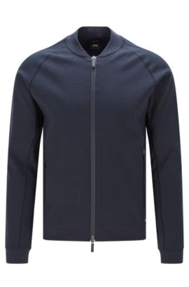 Regular fit Travel Line sweatshirt jacket in cotton blend: 'Skiles 03', Dark Blue