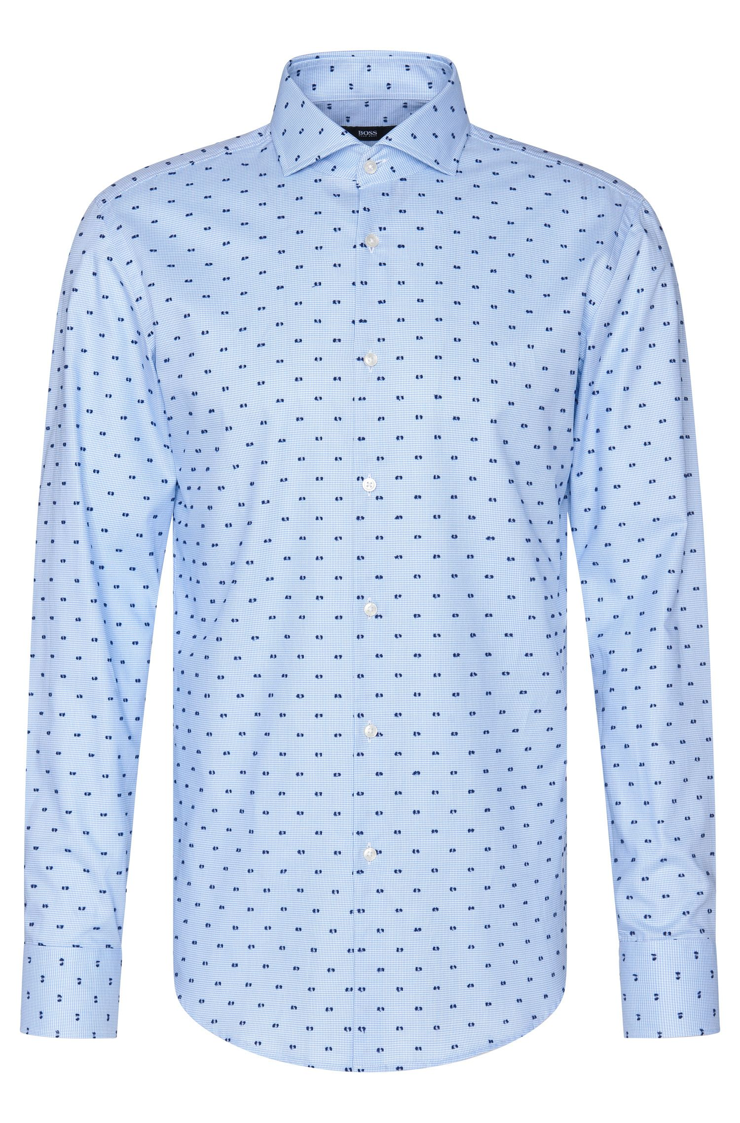 Embroidered slim-fit shirt in cotton: 'Jason'