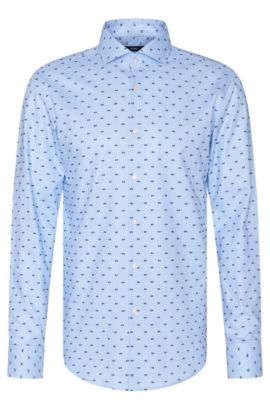 Embroidered slim-fit shirt in cotton: 'Jason', Light Blue