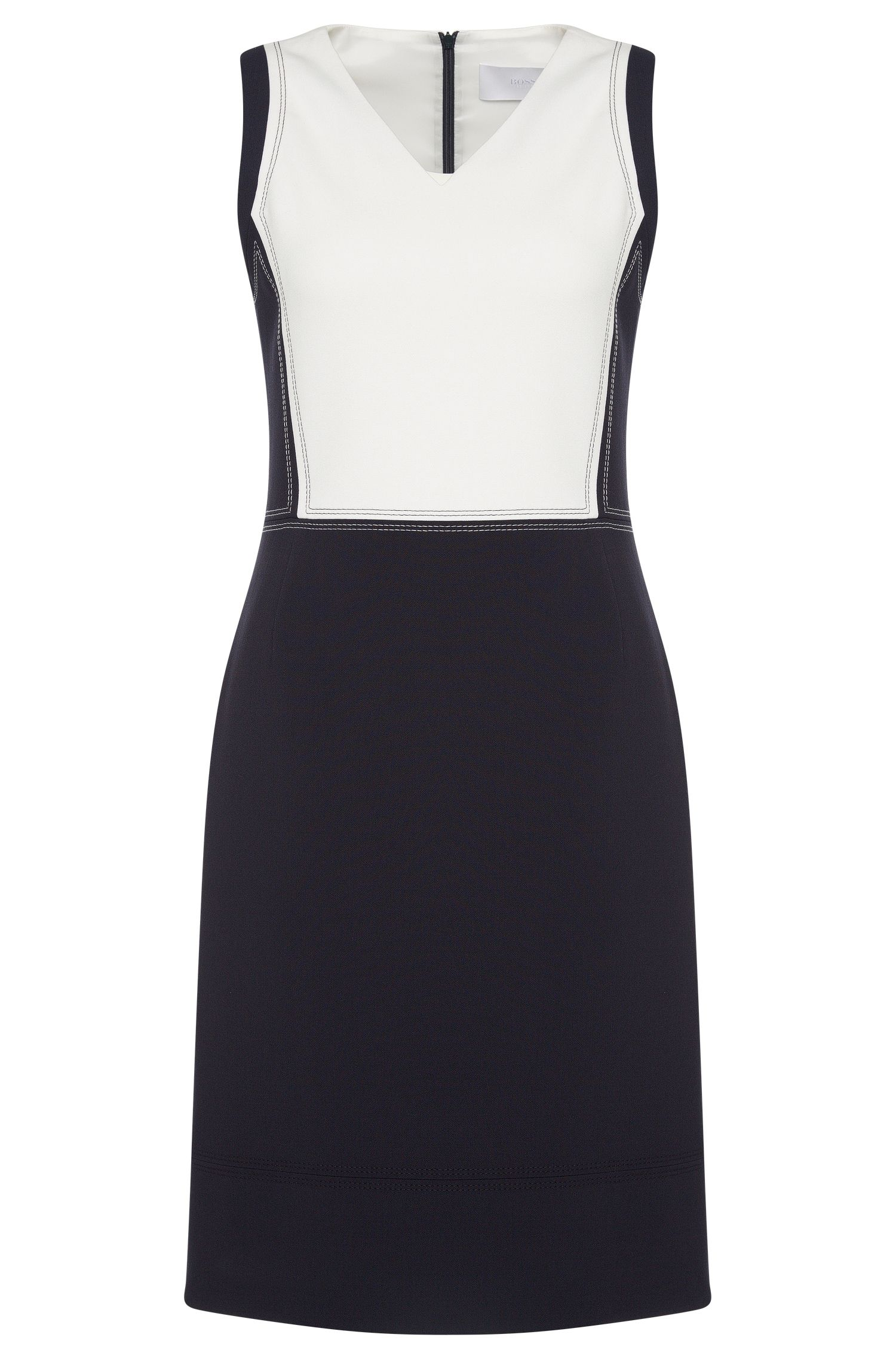 Two-tone sheath dress with colour-contrasting stitching: 'Demida'