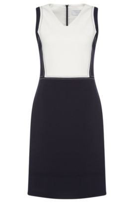 Two-tone sheath dress with colour-contrasting stitching: 'Demida', Dark Blue
