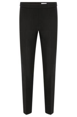 Pantalon Regular Fit en mélange de matières extensible à teneur en viscose et coton:  «Tiluna_SideZip», Noir