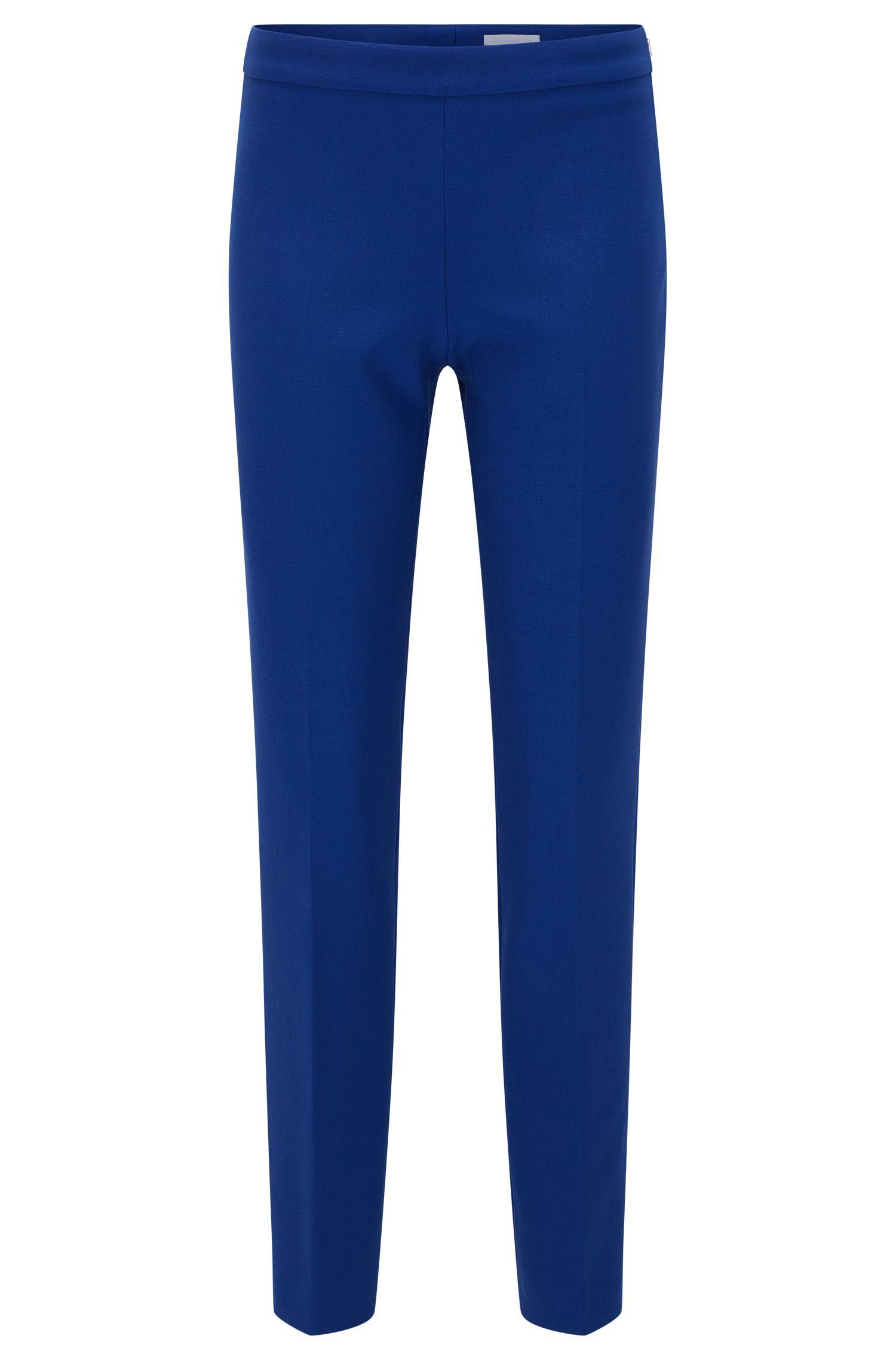 Pantalón regular fit en mezcla de materiales elásticos con viscosa y algodón: 'Tiluna_SideZip'